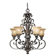 Vaxcel USA BGCHU005PZ Bellagio 6 Light Traditional Chandelier Lighting Fixture in Bronze, Glass