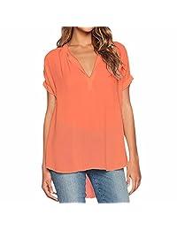 Women Solid Loose Chiffon Shirt Short Sleeves Blouse V Neck Tops Shirt Plus Size