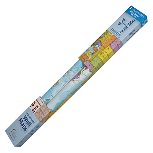 (Round World Products RWPHMB02PK Hemispheres World/USA Laminated Wall Maps, Laminated Paper, Multi)