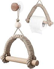 qipuneky Uchwyt na papier toaletowy linka, uchwyt na papier toaletowy bez wiercenia, drewniany wieszak na ręczniki do łazienki kuchni (drewno i sznur)