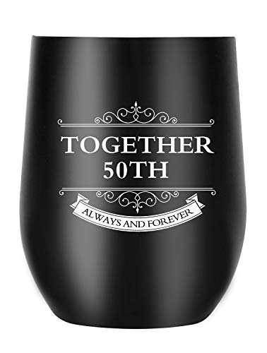 50th Anniversary Gifts for Men Women Wife Husband Couple, Together Always and Forever, Personalized Wine Tumbler with Lid for Christmas Valentines Day (Together 50th)