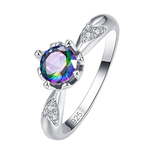 Emsione Created Rainbow Topaz 925 Sterling Silver Plated CZ Ring for Women