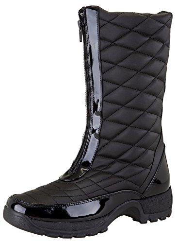 Khombu Women's Dorothy Waterproof Mid Winter Snow Boot (10 B(M) US, Black)