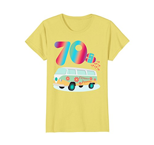 Womens WOMEN CUTE: 70s Hippie Bus Party Shirt Costume Outfit Gift Large Lemon