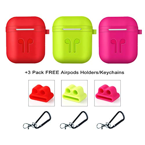 Applestore Protective Cover Case Compatible Airpods Case, 3 Pack Silicone Waterproof Shock Resistant Case with Keychains/AirPods Holders Compatible for Apple Earpods AirPods Accessories