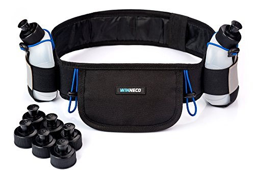 Hydration Running Belt with 2 Water Bottles (BPA Free, 9oz Each) - Fits iPhone 6, 7 Plus - Reflective Running Gear - Men or Women