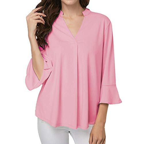 (HULKAY Womens Tops Sale Clearance Upgrade Stylish 3/4 Ruffle Sleeve V Neck Pure Color Loose Tee-Shirt Sweatshirt Blouses(Pink,L))