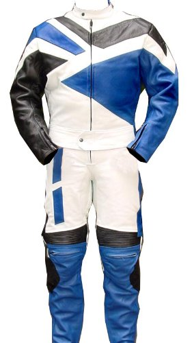 Perrini 2pc Motorcycle Riding Racing Leather Track Suit w/Padding All Leather Drag Suit