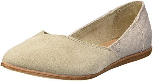 TOMS Women's Jutti Ballet Flat, Desert Taupe Suede/Heritage Canvas Mix, 9.5 Medium US