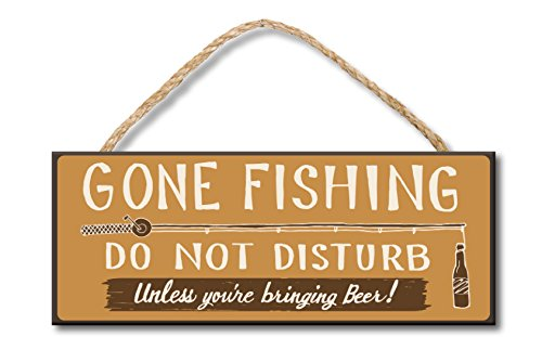 Gone Fishing - 4x10 Hanging Wooden Sign by My Word! - Gone Fishing Sign