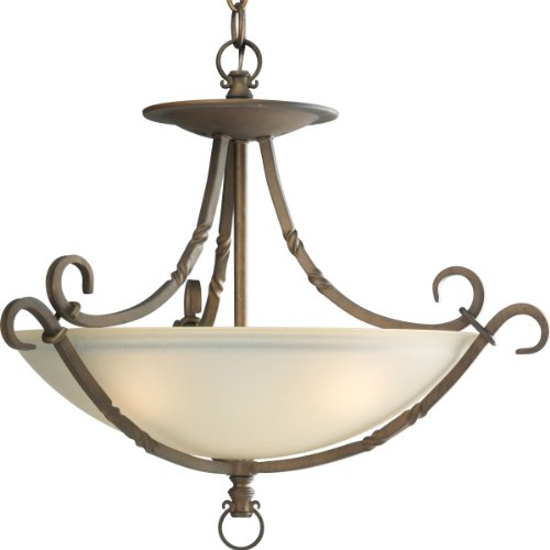 - Progress Lighting P3839-102 3-Light Santiago Close-to-Ceiling Semi-Flush Fixture, Roasted Java