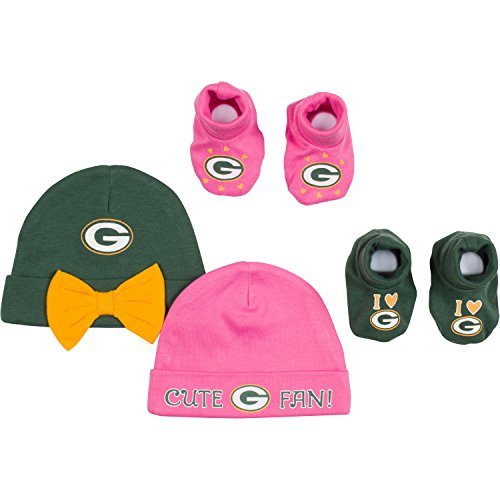NFL Green Bay Packers 2 Baby Caps and 2 Booties Set, 0-6 Months, Green/Pink Cap Booties