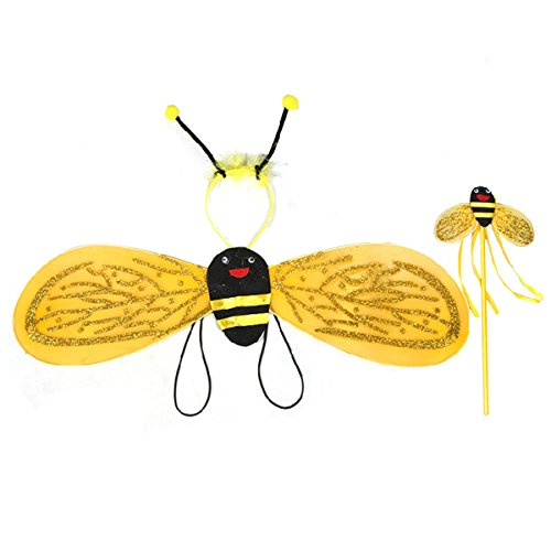 OULII Bumble Bee Wings with Headband Fairy Bee Wand 3pcs - Childs Honey Bee Wings