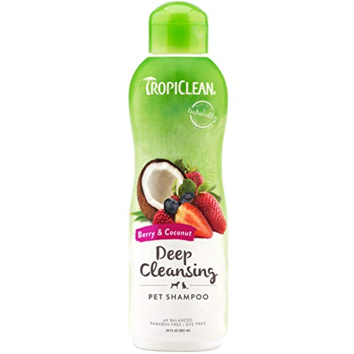 TropiClean Berry & Coconut Deep Cleansing Shampoo for Pets, 20oz - Effective Cleansing for Smelly Dogs and Cats, Made in The USA