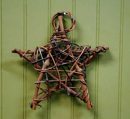 Rustic Natural Twig Star Ornaments- Set of (Primitive Star Ornaments)