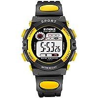 WUTONYU Kids Digital Sport Outdoor Watch with Alarm Stopwatch Date Child Boy Girls LED Waterproof Wristwatch (Yellow)