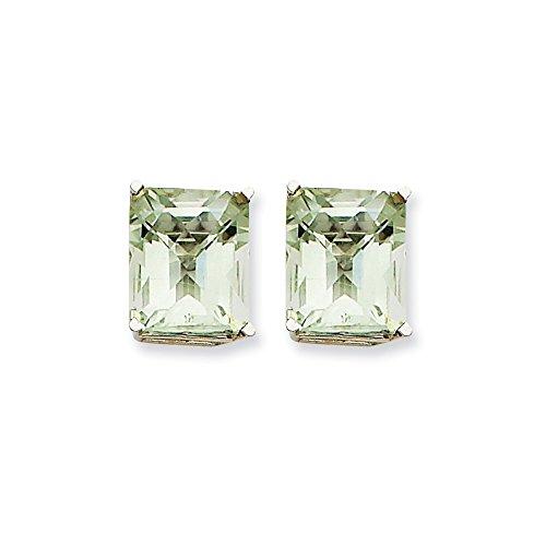 Mia Diamonds 14k White Gold 12x10mm Emerald-Cut Green Quartz Earrings