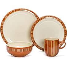 Denby Fire Stripes 4-Piece Place Setting, Service for 1