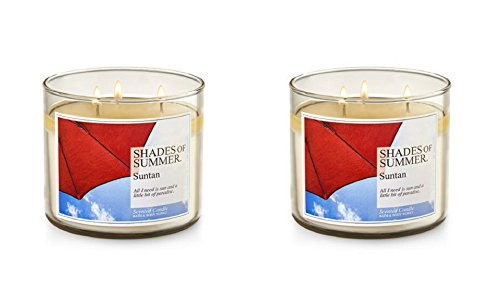 Lot of 2 Bath & Body Works Sun Tan 3 Wick Scented Candles 14.5 Oz Each (Scented) by Bath & Body Works
