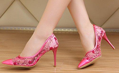 Aisun Mujeres Sexy Lentejuelas Gasa Recortada Vestido De Punta Estrecha Slip On Talones Bombas Partido Nupcial Stiletto Zapatos De Tacones Altos Melocotón Rojo
