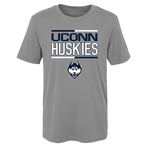 NCAA by Outerstuff NCAA Connecticut Huskies Toddler Flag Runner Alternate Color Tee, Heather Grey, 2T