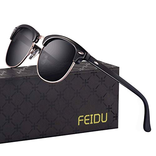 FEIDU Retro Polarized Mens Sunglasses for Men Half Metal Women FD3030
