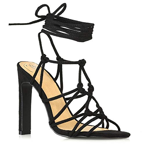 ESSEX GLAM Womens Lace Up Sandals Ladies Black Faux Suede Caged Gladiator High Heel Strappy Shoes 8 B(M) US