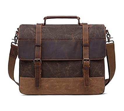 27e4f4576b Image Unavailable. Image not available for. Color  15.6 Inch Oil Wax Canvas Bag  Crazy Horse Leather Briefcase Retro Men s Messenger Bag
