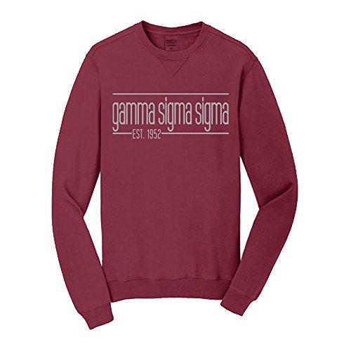 Gamma Sigma Sigma Pigment Dyed Emma Crew Sweatshirt XX-Large Merlot