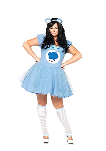 Leg Avenue Women's Plus-Size Care Bears 2 Piece Grumpy Bear Costume, Blue, 3X/4X (Plus Size Costumes)