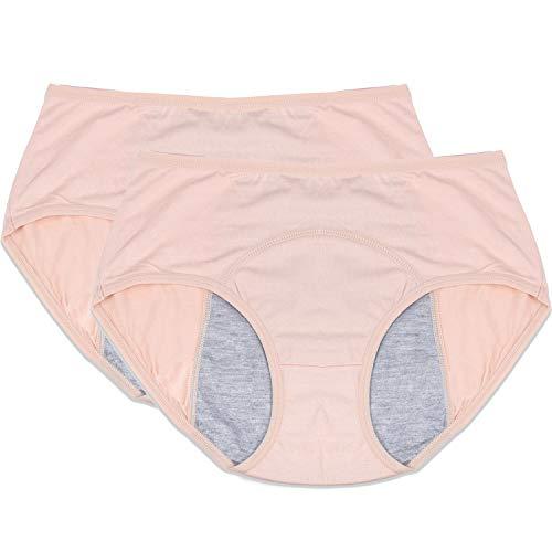Menstrual Period Leak Proof Underwear Panties for Girls/Women Heavy Flow, Postpartum Bleeding After Birth (Nude, M)