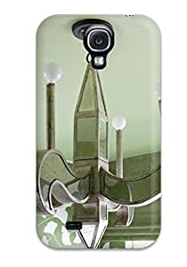 Anti-scratch And Shatterproof Green Glass Chandelier Against Green Painted Ceiling In Girls Bedroom Phone Case For Galaxy S4/ High Quality Tpu Case