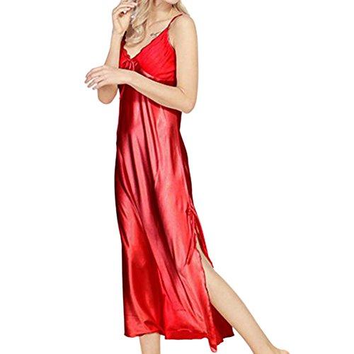 Pigiama Senza notte Sling Estate da notte biancheria Donne Nightgown Rosso Chemise Long da Raso Primavera Camicia Plus Size Vestaglia Deylaying maniche Seta XC0af0x
