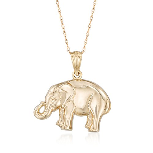 Ross-Simons 14kt Yellow Gold Elephant Pendant Necklace (Pendant Yellow Elephant Gold)