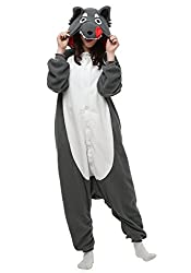 OLadydress Unisex Wolf Cosplay Pyjamas, Animal Costums Onesie for Adult Women Men