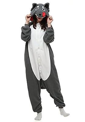 OLadydress Unisex Wolf Cosplay Pyjamas, Animal Costums Onesie for Adult Women Men