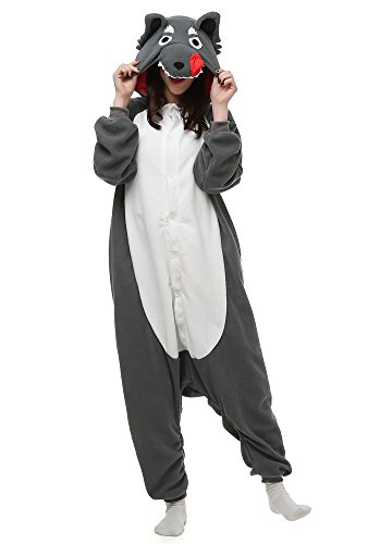 OLadydress Unisex Wolf Cosplay Pyjamas, Animal Costums Onesie For Adult Women Men Grey Medium (Female Wolf Costume)