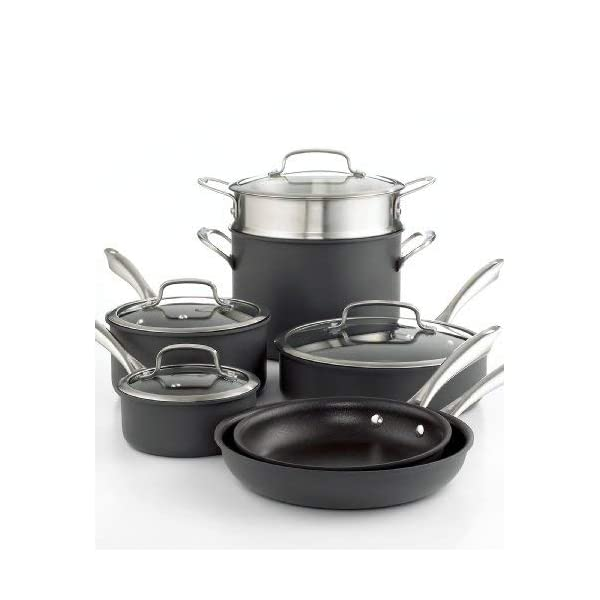Cuisinart Dishwasher Safe Hard-Anodized 11-Piece Cookware Set, Black 3