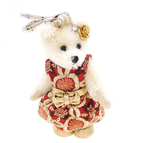 Prada Trick Orsetto Rosso Red Gold Embroidered Dress Linda Teddy Bear Keychain 1TO025 ()