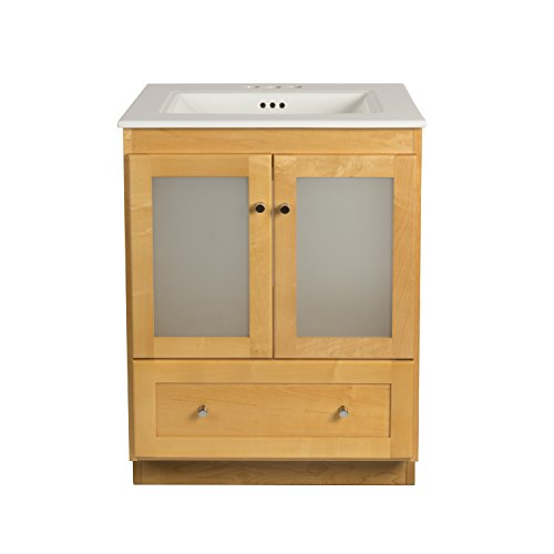 RONBOW Shaker 24 Inch Bathroom Vanity Set in Maple, Wood Cabinet with Two Frosted Glass Doors and Bottom Drawer, Ceramic Sinktop in White 080824-1-M01_Kit_1 (Vanity Wood Shaker)