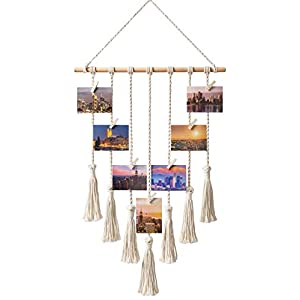 Mkono Hanging Photo Display Macrame Wall Hanging Pictures Decor Boho Home Chic Decoration for Apartment Bedroom Living…