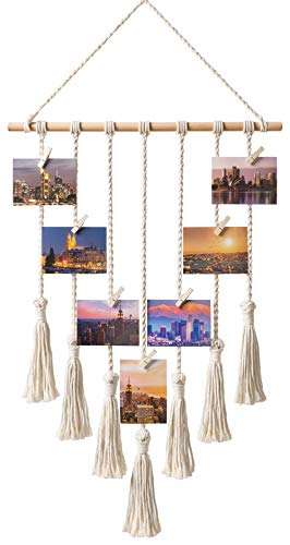 (Mkono Hanging Photo Display Macrame Wall Hanging Pictures Organizer Boho Home Decor, with 25 Wood Clips)