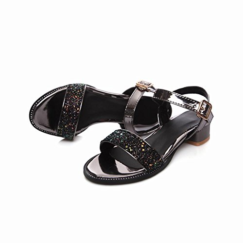 Mee Shoes Women's Chic Buckle Shining Sandals Black 7tX9FWXO