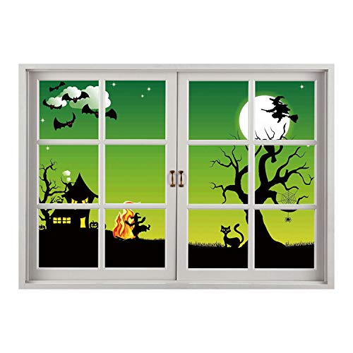 SCOCICI Window Frame Style Home Decor Art Removable Wall Sticker/Halloween Decorations,Witch Dancing with Fire at Halloween Ancient Western Horror Image,Green Black/Wall Sticker Mural