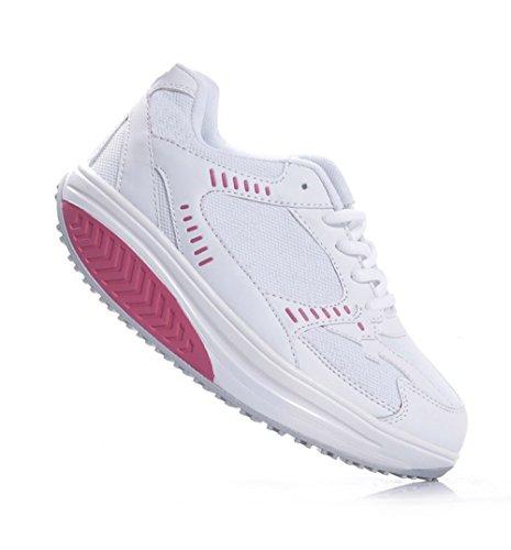 MAPLEAF - Zapatillas de gimnasia de piel sintética para mujer Bianco/Fuxia