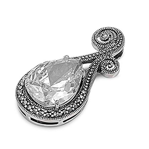 Pendant Clear Simulated CZ Simulated Marcasite .925 Sterling Silver Charm - Silver Jewelry Accessories Key Chain Bracelet Necklace Pendants