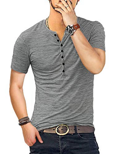 (KUYIGO Men's Henley Shirts Short Sleeve Slim Fit Summer Shirts (Large, 01 Grey))