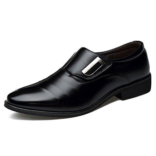 XMWEALTHY Men's Pointed Toe Tuxedo Dress Shoes Slip on Oxfords Black US 11 Mens Black Formal Tuxedo Shoes