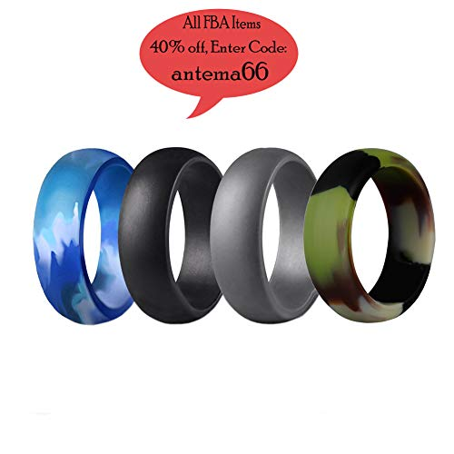 Antemart Silicone Wedding Ring, Silicone Wedding Band for Men,Athletes,Comfortable Fit & Skin Safe, Non-toxic - 8mm-8.5mm Wide,Men Boys Gift