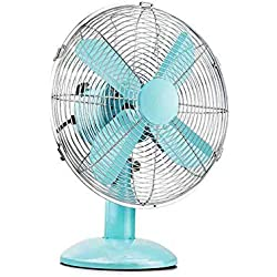 Sunny Desk Table Fan Vintage Floor Fan Portable Adjustable Tilting Tilt Electric Air Cooling 3 Speed Home Office Fan, 12""
